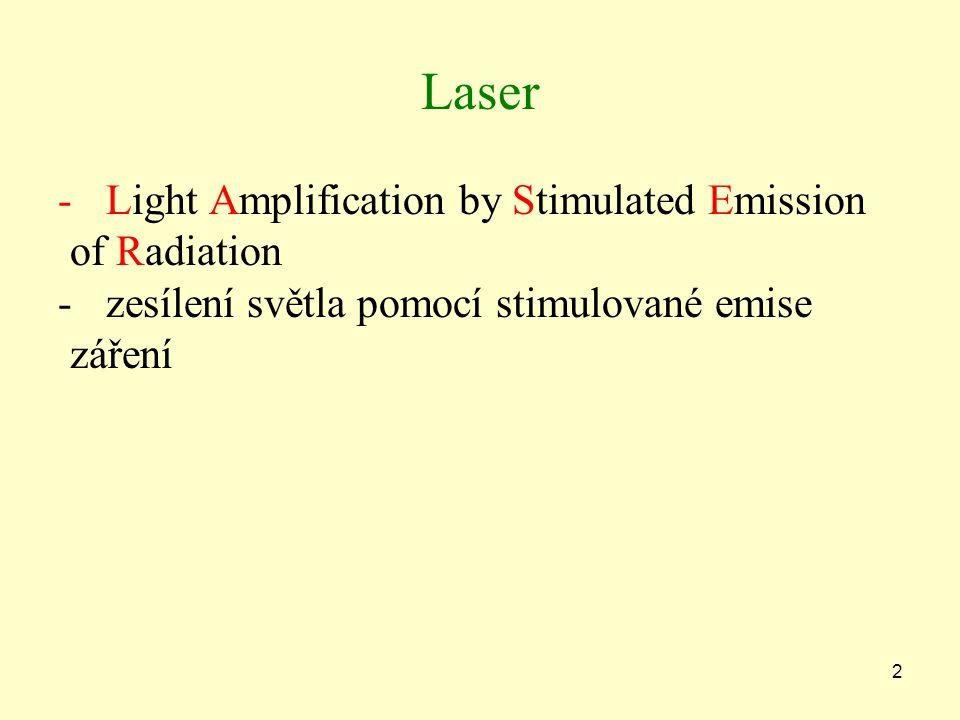 2 Laser -Light Amplification by Stimulated Emission of Radiation -zesílení světla pomocí stimulované emise záření