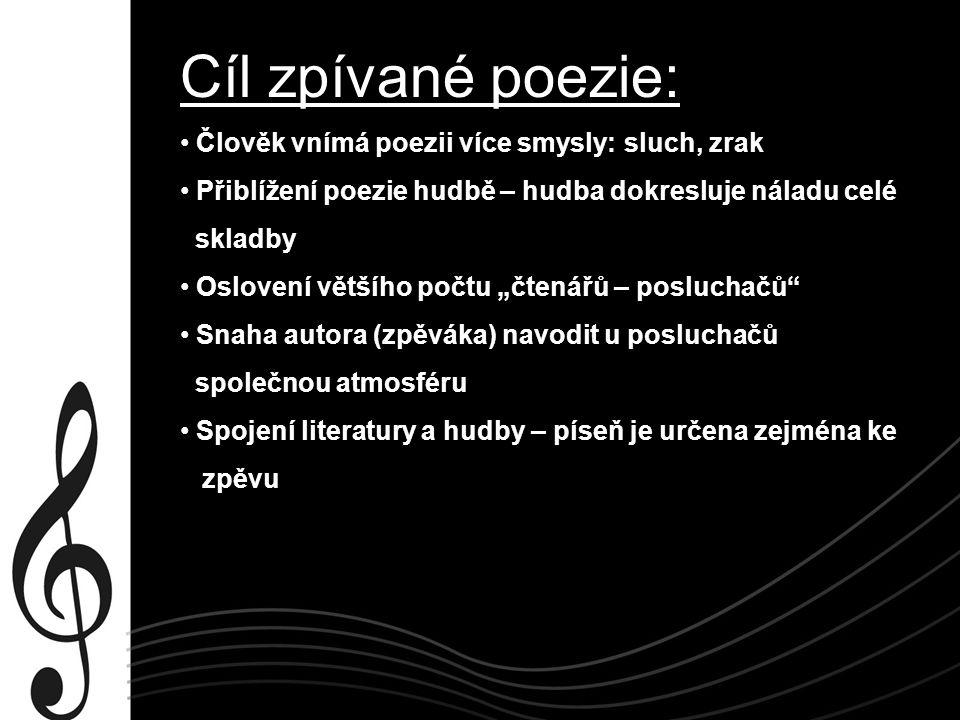 Často dochází také ke zhudebnění prvotně básnického textu Jaromír Nohavica – zhudebnil básně od Petra Bezruče Petr Bezruč Kdo na moje místo.
