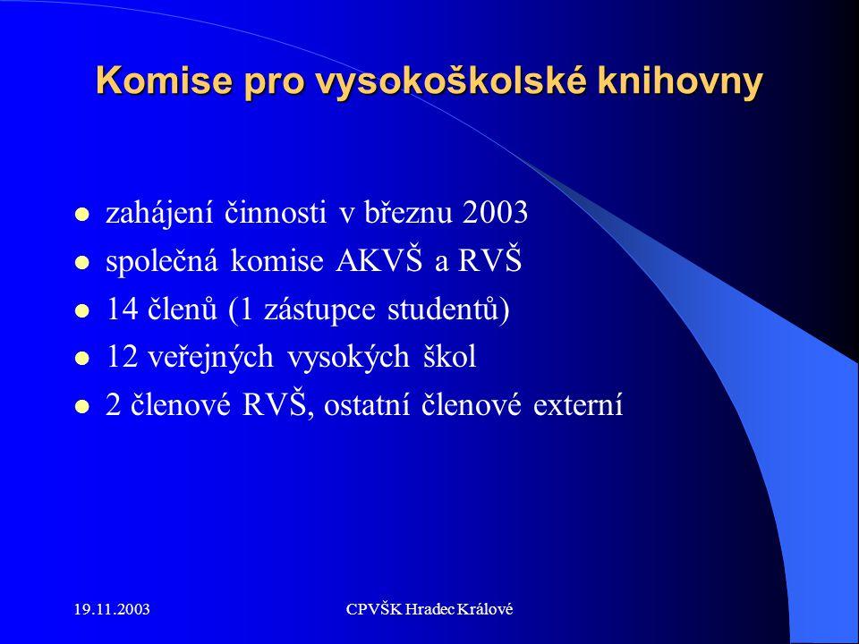 19.11.2003CPVŠK Hradec Králové Komise pro vysokoškolské knihovny zahájení činnosti v březnu 2003 společná komise AKVŠ a RVŠ 14 členů (1 zástupce studentů) 12 veřejných vysokých škol 2 členové RVŠ, ostatní členové externí