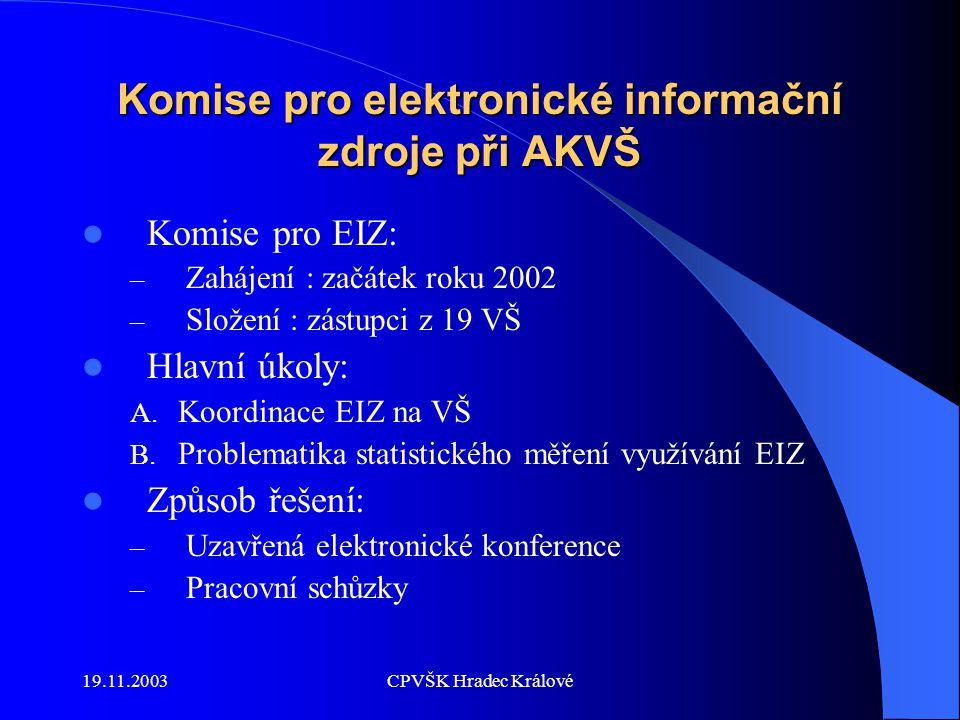 19.11.2003CPVŠK Hradec Králové A.Koordinace EIZ na VŠ 1.