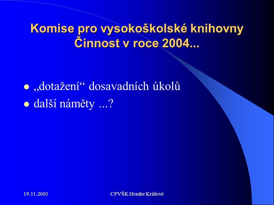 19.11.2003CPVŠK Hradec Králové Komise pro vysokoškolské knihovny Činnost v roce 2004...
