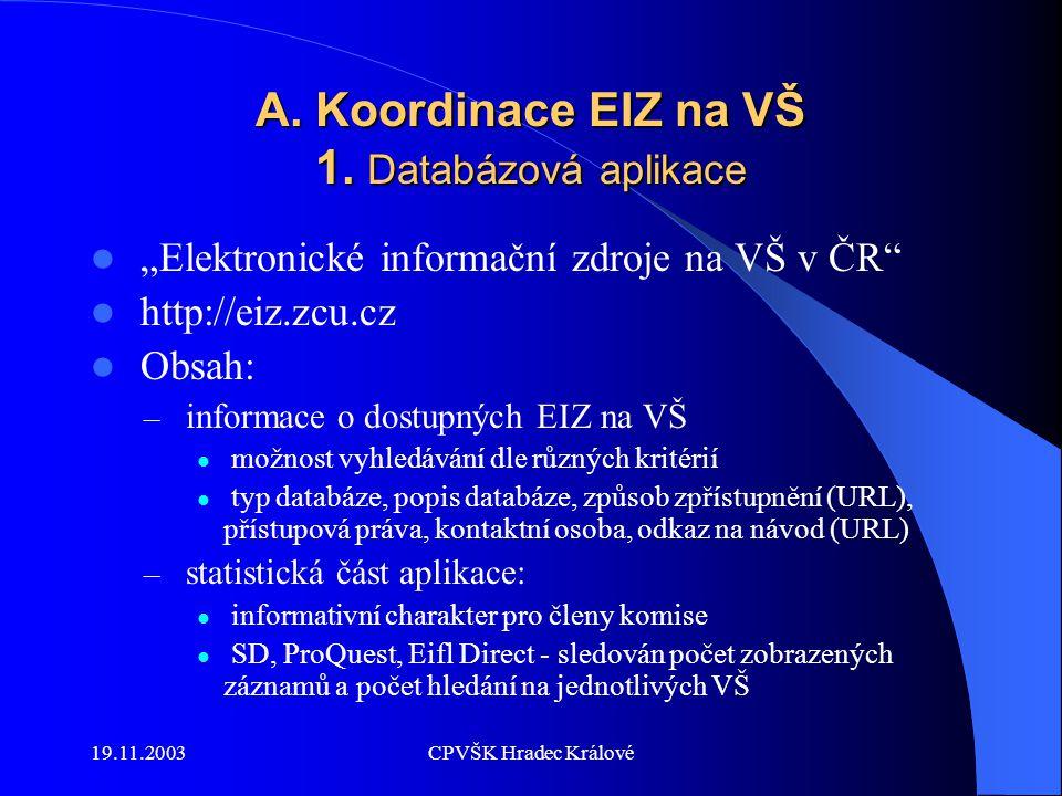 19.11.2003CPVŠK Hradec Králové A. Koordinace EIZ na VŠ 1.