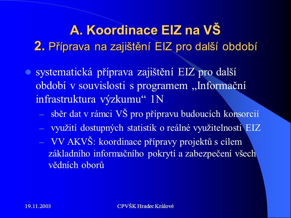 19.11.2003CPVŠK Hradec Králové B: Problematika statistického měření využívání EIZ – projekt Counter Counter (Code of Practice) – významný projekt – Směřuje ke stanovení standardu pro měření využívání elektronických produktů – jednoznačně definuje požadavky na data pro vytváření a dodávání uživatelských statistik – říjen 2003 : podpis prohlášení o dodávání uživ.
