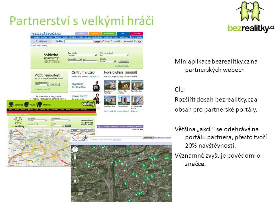 Partnerství s velkými hráči Miniaplikace bezrealitky.cz na partnerských webech CÍL: Rozšířit dosah bezrealitky.cz a obsah pro partnerské portály.