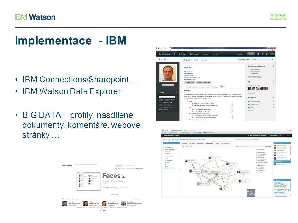 Implementace - IBM IBM Connections/Sharepoint … IBM Watson Data Explorer BIG DATA – profily, nasdílené dokumenty, komentáře, webové stránky ….