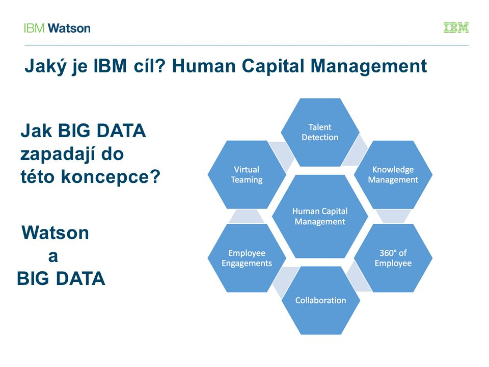 Jaký je IBM cíl? Human Capital Management Jak BIG DATA zapadají do této koncepce? Watson a BIG DATA