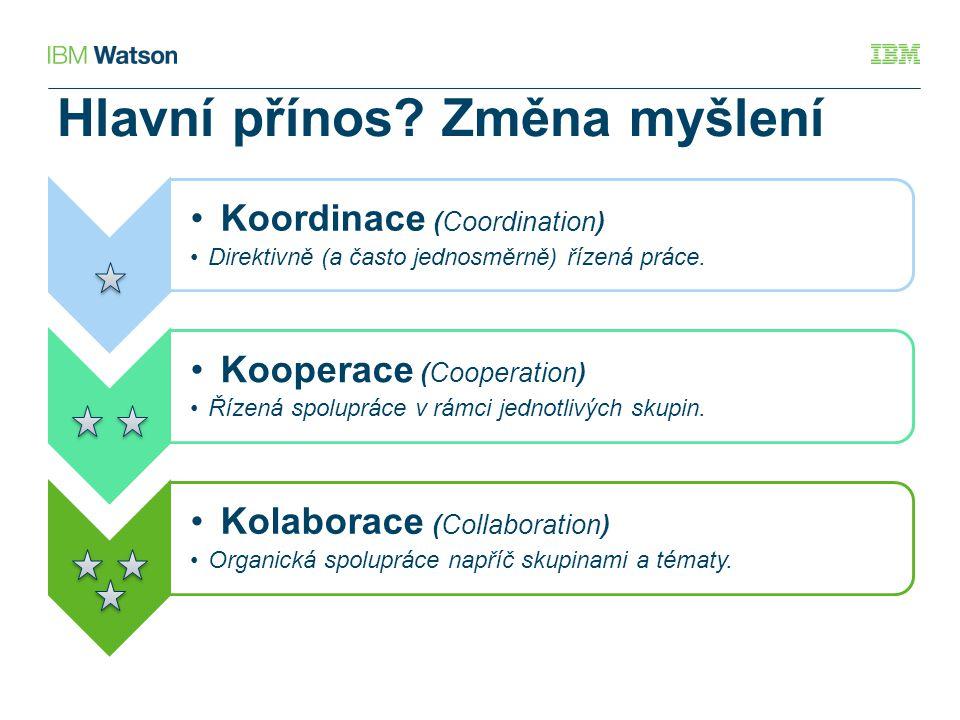 Hlavní přínos? Změna myšlení Koordinace (Coordination) Direktivně (a často jednosměrně) řízená práce. Kooperace (Cooperation) Řízená spolupráce v rámc