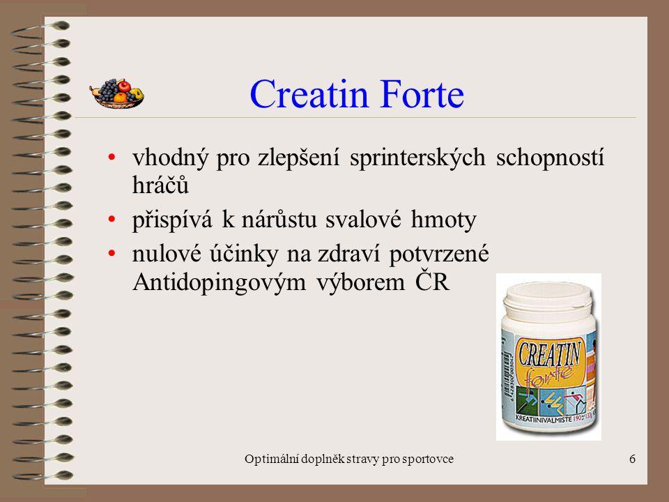 Optimální doplněk stravy pro sportovce6 Creatin Forte vhodný pro zlepšení sprinterských schopností hráčů přispívá k nárůstu svalové hmoty nulové účinky na zdraví potvrzené Antidopingovým výborem ČR