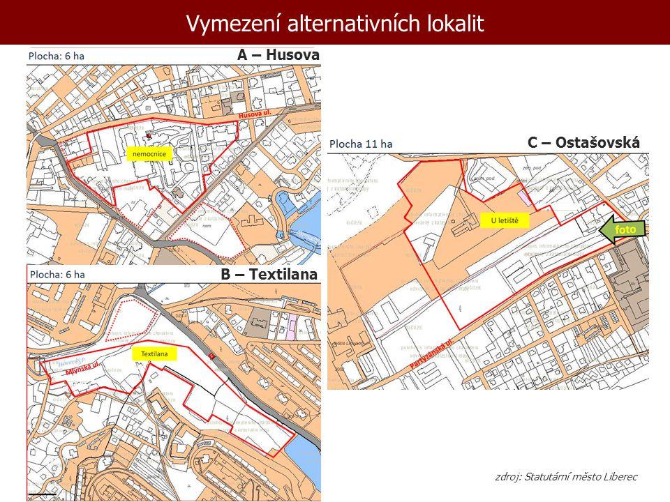 Vymezení alternativních lokalit A – Husova C – Ostašovská B – Textilana zdroj: Statutární město Liberec