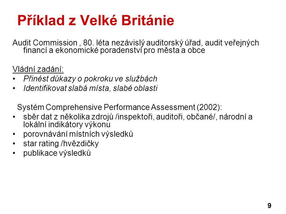 Příklad z Velké Británie Audit Commission, 80. léta nezávislý auditorský úřad, audit veřejných financí a ekonomické poradenství pro města a obce Vládn