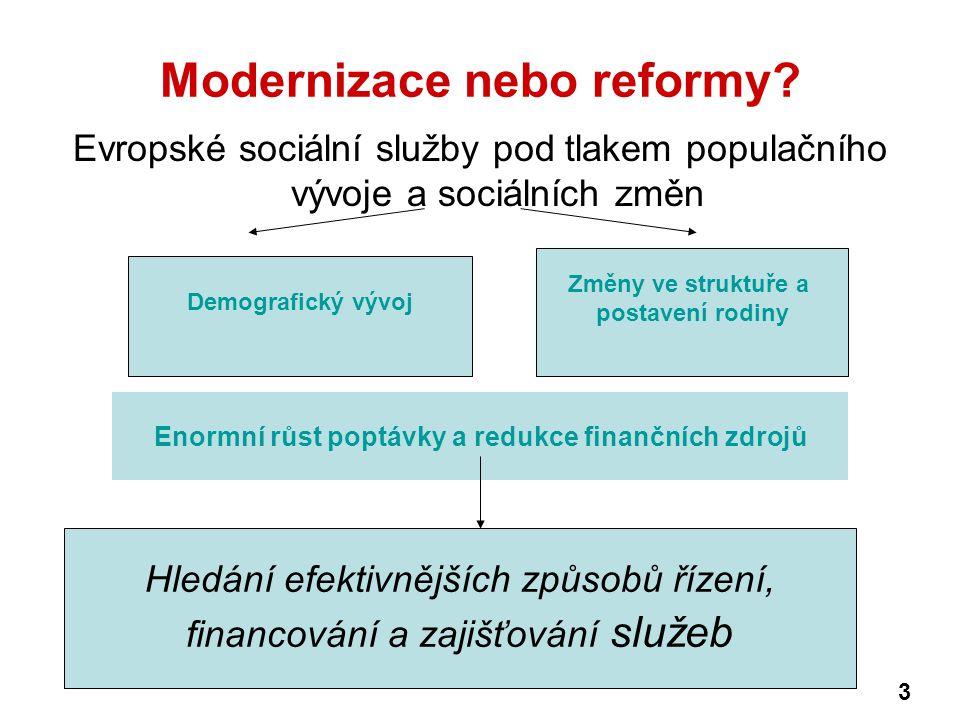 Evropská řešení decentralizace služeb, snižování státní reglementace v regulaci služeb, přenášení váhy odpovědnosti za efektivní a kvalitní provádění služeb ze státní a veřejné sféry na sféru neziskovou a soukromou (spoléhání na finanční odpovědnost vlastníka) hledání dobrého modelu managmentu organizace provádějících soc.