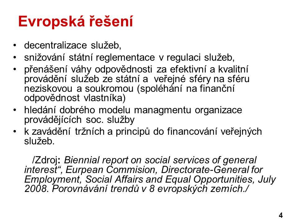 Evropská řešení decentralizace služeb, snižování státní reglementace v regulaci služeb, přenášení váhy odpovědnosti za efektivní a kvalitní provádění