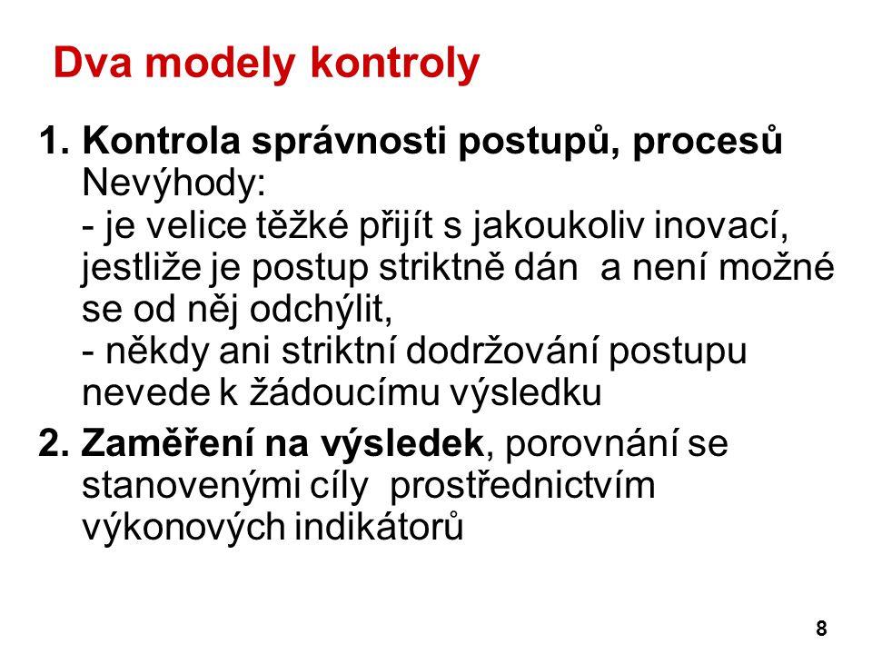 Dva modely kontroly 1.Kontrola správnosti postupů, procesů Nevýhody: - je velice těžké přijít s jakoukoliv inovací, jestliže je postup striktně dán a