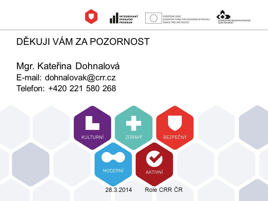 DĚKUJI VÁM ZA POZORNOST Mgr. Kateřina Dohnalová E-mail: dohnalovak@crr.cz Telefon: +420 221 580 268 28.3.2014Role CRR ČR