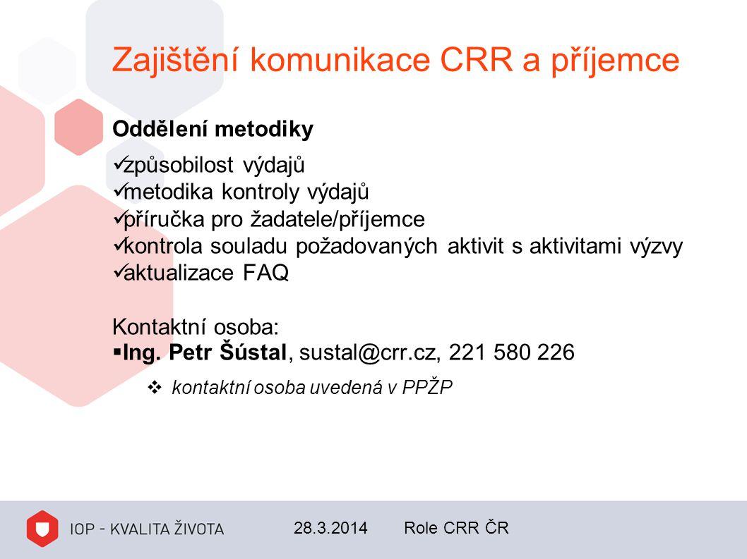 Zajištění komunikace CRR a příjemce Oddělení metodiky způsobilost výdajů metodika kontroly výdajů příručka pro žadatele/příjemce kontrola souladu poža