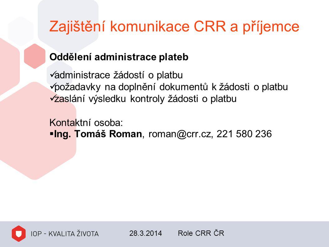 Zajištění komunikace CRR a příjemce Oddělení administrace plateb administrace žádostí o platbu požadavky na doplnění dokumentů k žádosti o platbu zasl