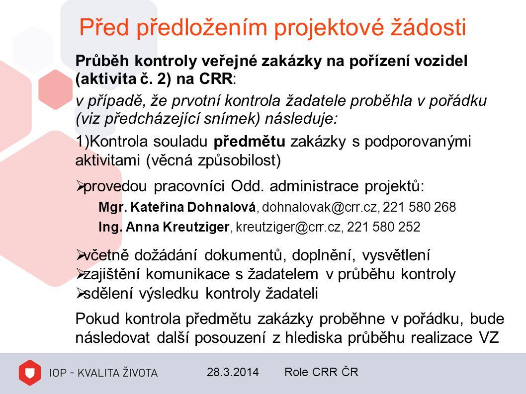 Před předložením projektové žádosti Průběh kontroly veřejné zakázky na pořízení vozidel (aktivita č. 2) na CRR: v případě, že prvotní kontrola žadatel
