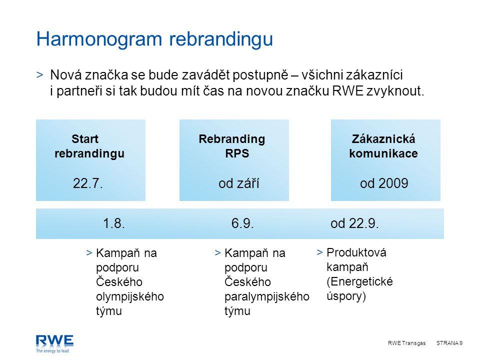 RWE TransgasSTRANA 9 Harmonogram rebrandingu Start rebrandingu >Kampaň na podporu Českého olympijského týmu >Kampaň na podporu Českého paralympijského týmu Rebranding RPS >Produktová kampaň (Energetické úspory) Zákaznická komunikace 22.7.