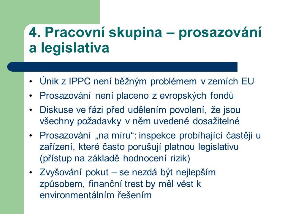 4. Pracovní skupina – prosazování a legislativa Únik z IPPC není běžným problémem v zemích EU Prosazování není placeno z evropských fondů Diskuse ve f