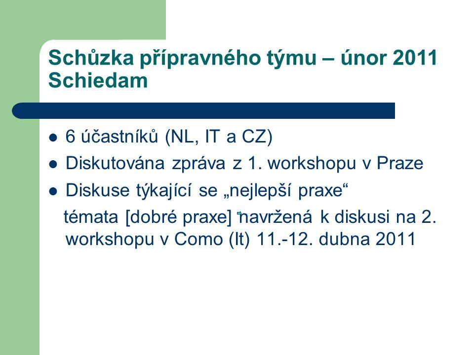Schůzka přípravného týmu – únor 2011 Schiedam 6 účastníků (NL, IT a CZ) Diskutována zpráva z 1.