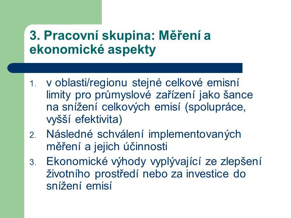 3. Pracovní skupina: Měření a ekonomické aspekty 1.