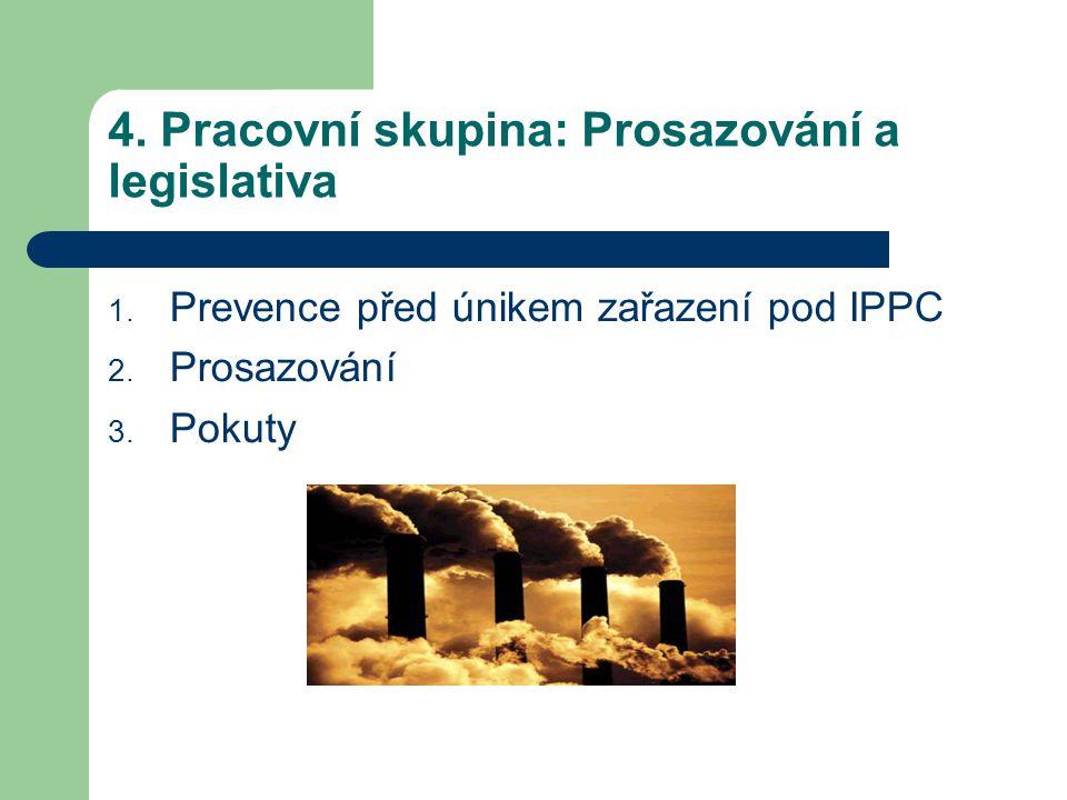 4.Pracovní skupina: Prosazování a legislativa 1. Prevence před únikem zařazení pod IPPC 2.