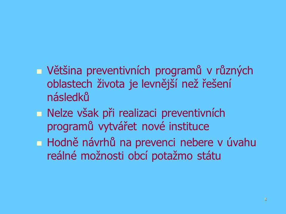 Většina preventivních programů v různých oblastech života je levnější než řešení následků Nelze však při realizaci preventivních programů vytvářet nové instituce Hodně návrhů na prevenci nebere v úvahu reálné možnosti obcí potažmo státu 8