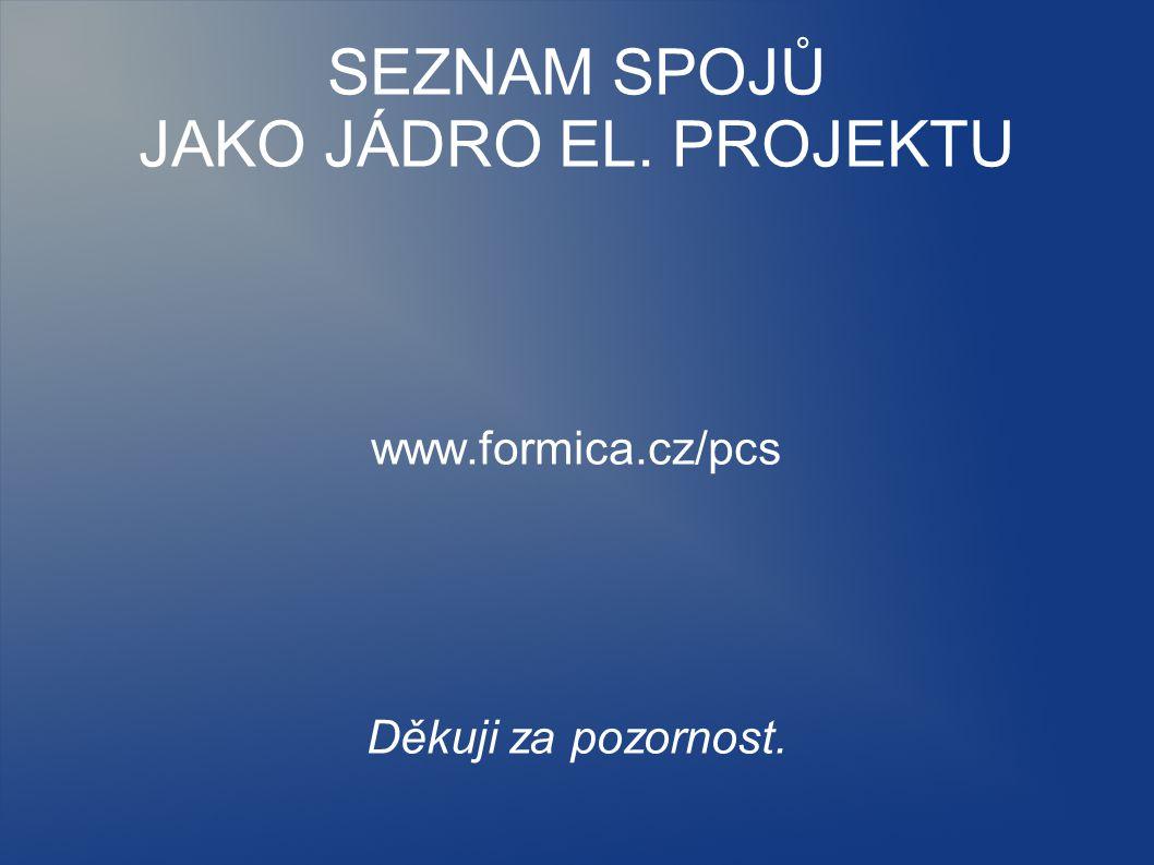 SEZNAM SPOJŮ JAKO JÁDRO EL. PROJEKTU www.formica.cz/pcs Děkuji za pozornost.