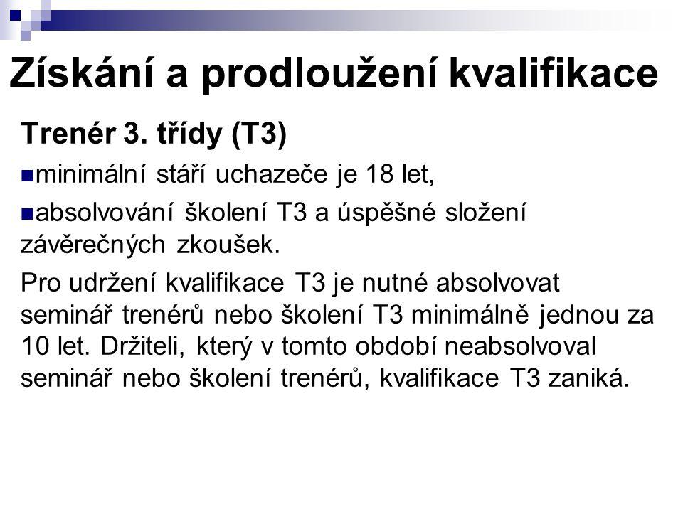 Získání a prodloužení kvalifikace Trenér 3.