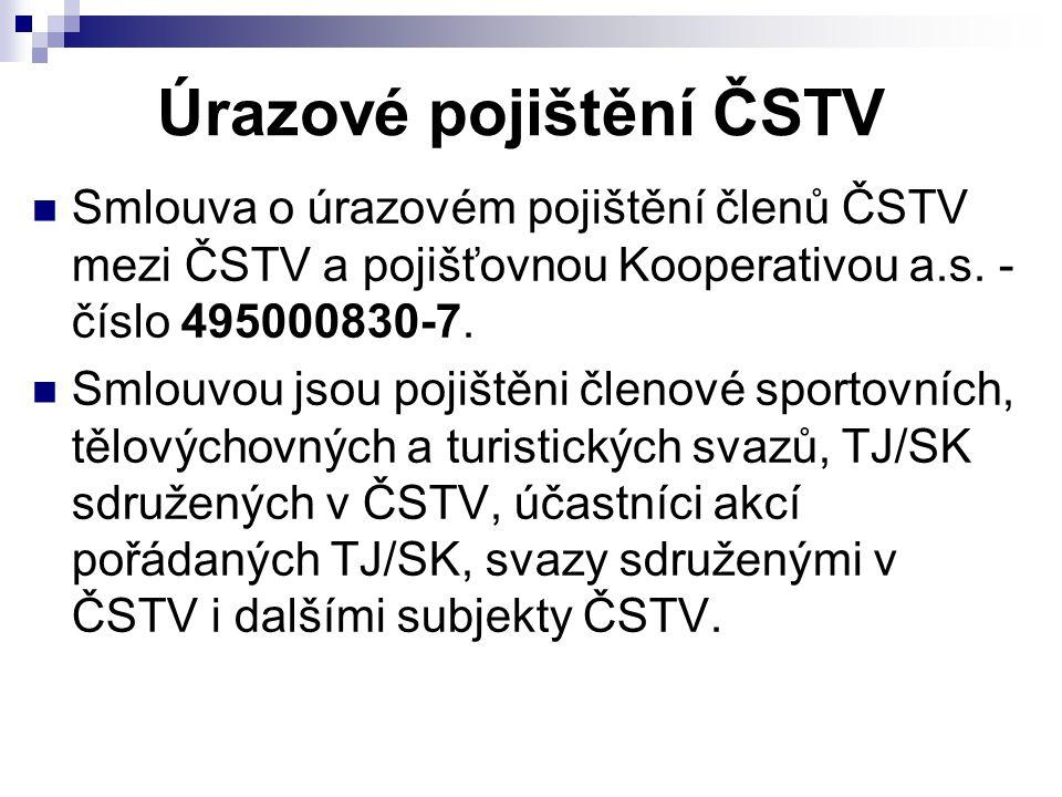 Úrazové pojištění ČSTV Smlouva o úrazovém pojištění členů ČSTV mezi ČSTV a pojišťovnou Kooperativou a.s.