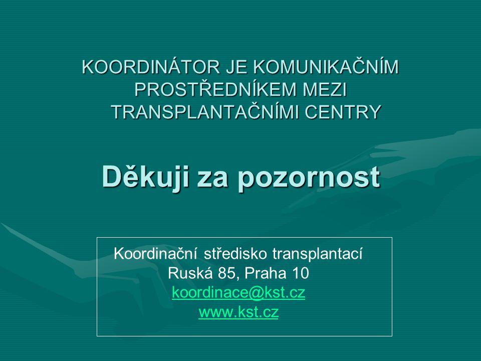 KOORDINÁTOR JE KOMUNIKAČNÍM PROSTŘEDNÍKEM MEZI TRANSPLANTAČNÍMI CENTRY Děkuji za pozornost Koordinační středisko transplantací Ruská 85, Praha 10 koordinace@kst.cz www.kst.cz