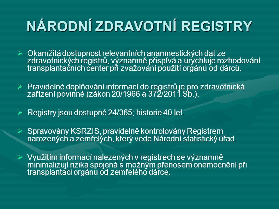 NÁRODNÍ ZDRAVOTNÍ REGISTRY NRKNNárodní registr kloubních náhrad NRPNNárodní registr pohlavních nemocí NRCChNárodní registr cévní chirurgie NRKINárodní registr kardiovaskulárních intervencí NORNárodní onkologický registr NKchRNárodní kardiochirurgický registr TBCRegistr tuberkulózy EPIDATHygienický registr hlášení, evidence a analýzy výskytu infekčních nemocí v ČR analýzy výskytu infekčních nemocí v ČR NRODNárodní registr osob nesouhlasících s posmrtným odběrem tkání a orgánů s posmrtným odběrem tkání a orgánů