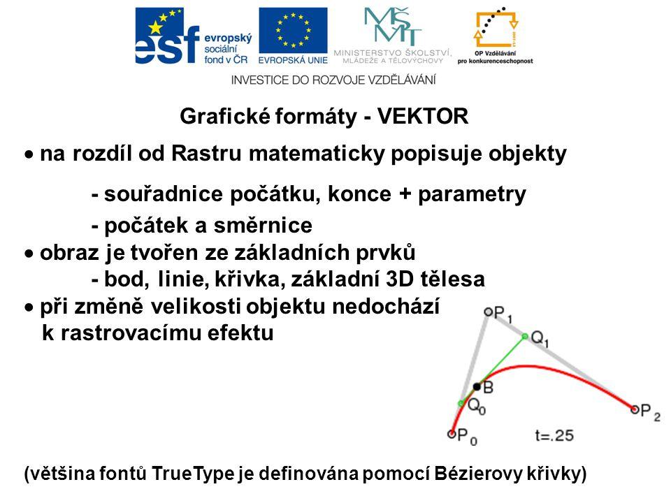 Grafické formáty - VEKTOR  na rozdíl od Rastru matematicky popisuje objekty - souřadnice počátku, konce + parametry - počátek a směrnice  obraz je tvořen ze základních prvků - bod, linie, křivka, základní 3D tělesa  při změně velikosti objektu nedochází k rastrovacímu efektu (většina fontů TrueType je definována pomocí Bézierovy křivky)