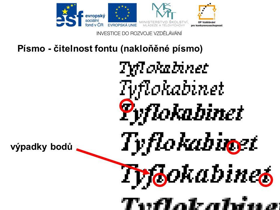 Písmo - čitelnost fontu (nakloňěné písmo) výpadky bodů