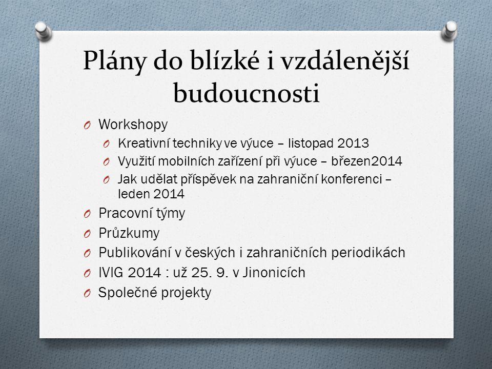 Plány do blízké i vzdálenější budoucnosti O Workshopy O Kreativní techniky ve výuce – listopad 2013 O Využití mobilních zařízení při výuce – březen201