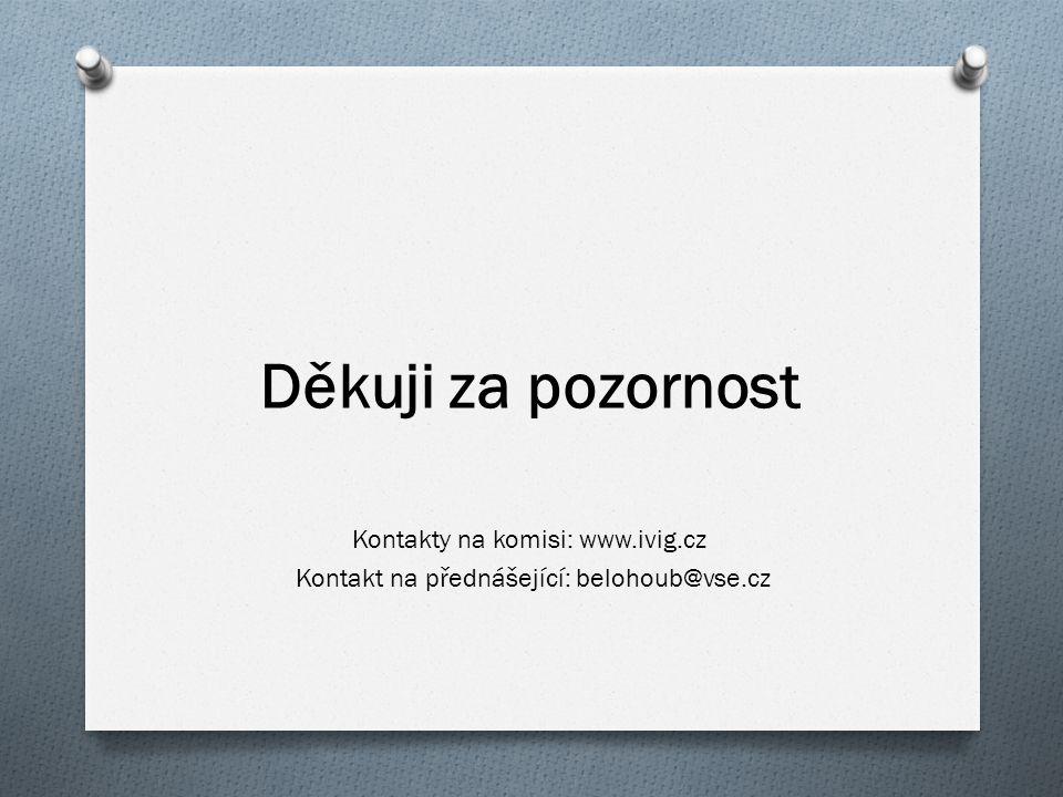 Děkuji za pozornost Kontakty na komisi: www.ivig.cz Kontakt na přednášející: belohoub@vse.cz