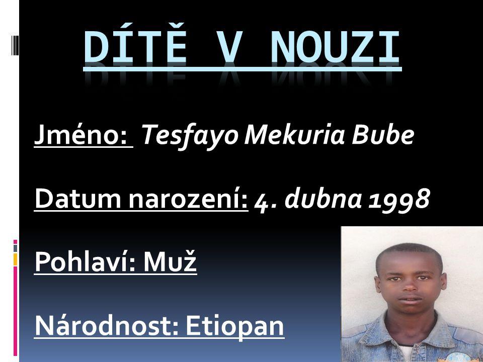 Jméno: Tesfayo Mekuria Bube Datum narození: 4. dubna 1998 Pohlaví: Muž Národnost: Etiopan