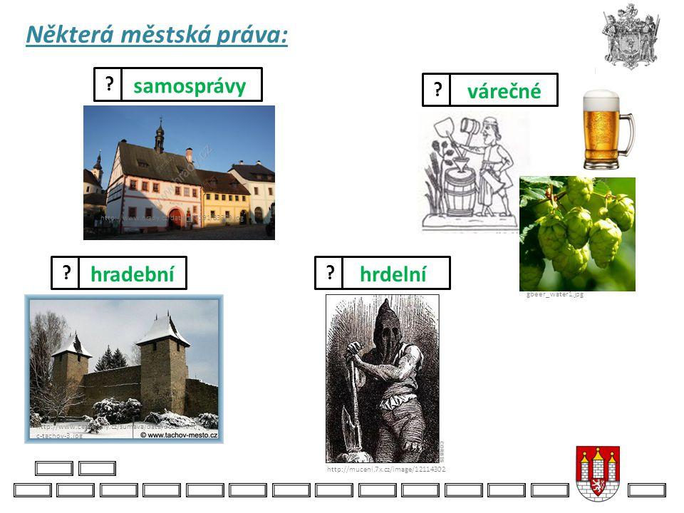Některá městská práva: http://muceni.7x.cz/image/12114302 hrdelní várečné http://www.excelent.cz/e xcelent.cz/content/image s/vyroba-piva1.jpg http://
