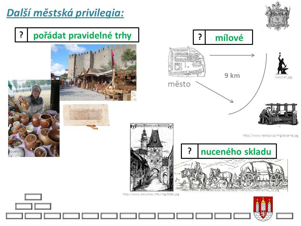 Další městská privilegia: http://fc08.deviantart.net/fs49/f/2009/212/f/4/Medieval_Market_by_mi nimeia.jpg http://www.zamek- doudleby.cz/img/news/0043_