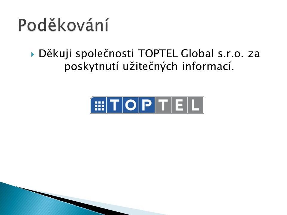  Děkuji společnosti TOPTEL Global s.r.o. za poskytnutí užitečných informací.