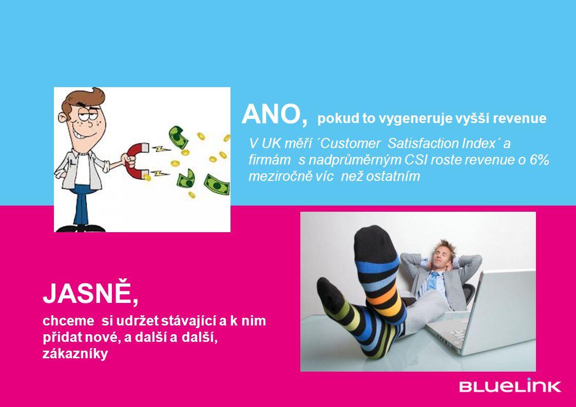 ANO, pokud to vygeneruje vyšší revenue JASNĚ, chceme si udržet stávající a k nim přidat nové, a další a další, zákazníky V UK měří ´Customer Satisfact