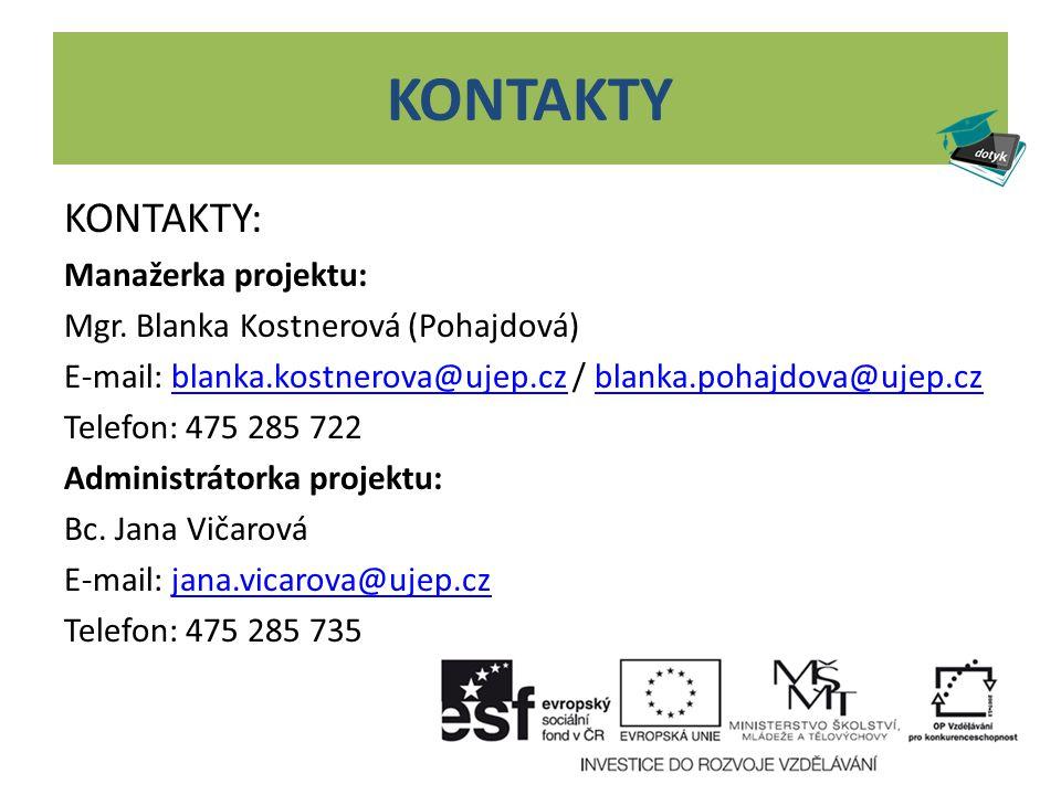 KONTAKTY KONTAKTY: Manažerka projektu: Mgr. Blanka Kostnerová (Pohajdová) E-mail: blanka.kostnerova@ujep.cz / blanka.pohajdova@ujep.czblanka.kostnerov