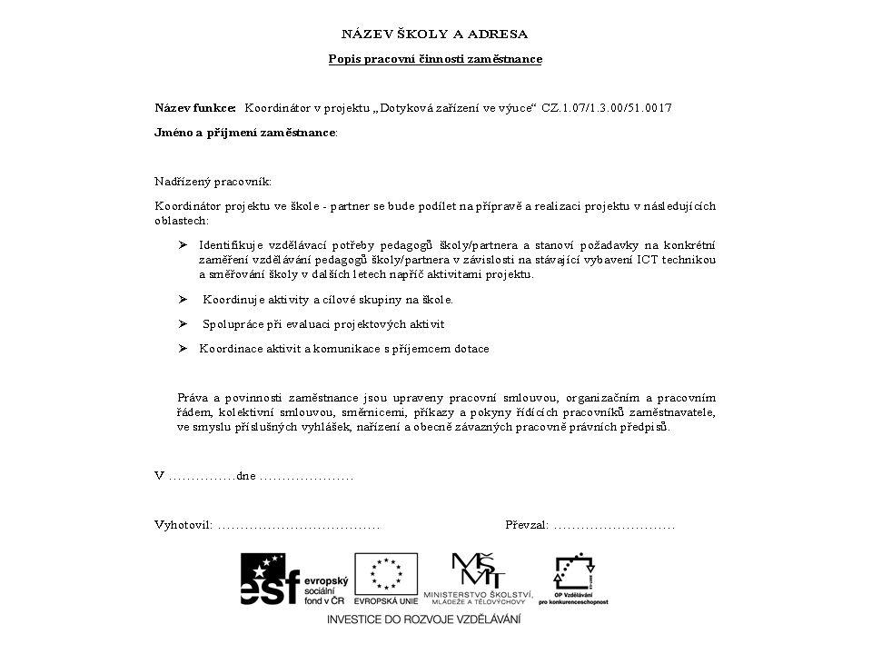 Podpis výkazů práce KOORDINÁTOR NADŘÍZENÝVÝKAZ PRÁCE PODEPISUJE Zaměstnanec školyŘeditel školyZaměstnanec Ředitel školy