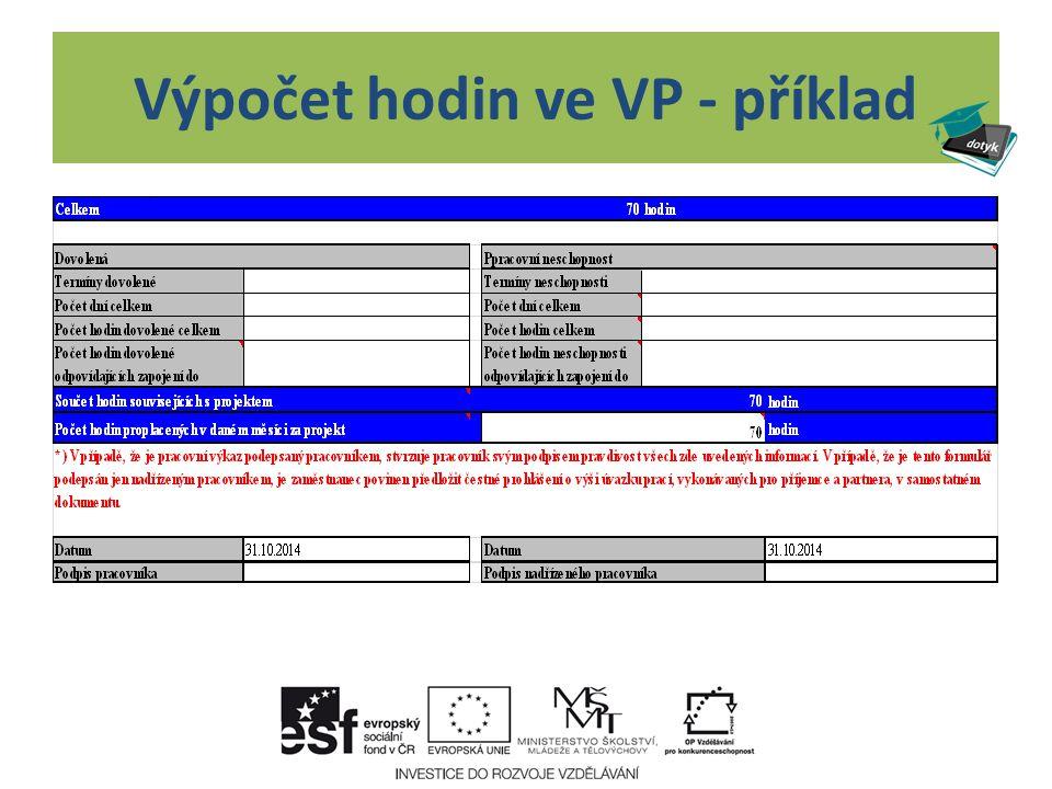 Vzor vyplnění PV za měsíc říjen vzor vyplneni PV_rijen.xlsx Při úvazku 700 hodin za celý projekt v délce trvání 10 měsíců Průměr na měsíc činí 70 hodin a nesmí být proplaceno více hodin