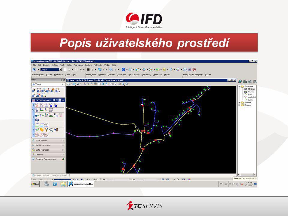 IFD – Intelligent Fibers Documentation Popis uživatelského prostředí Uživatelské prostředí lze rozdělit na následující části: DUCT – chráničky OSP (Outside Plan) – optické kabely ISP (Inside Plan) – řešení uvnitř budov