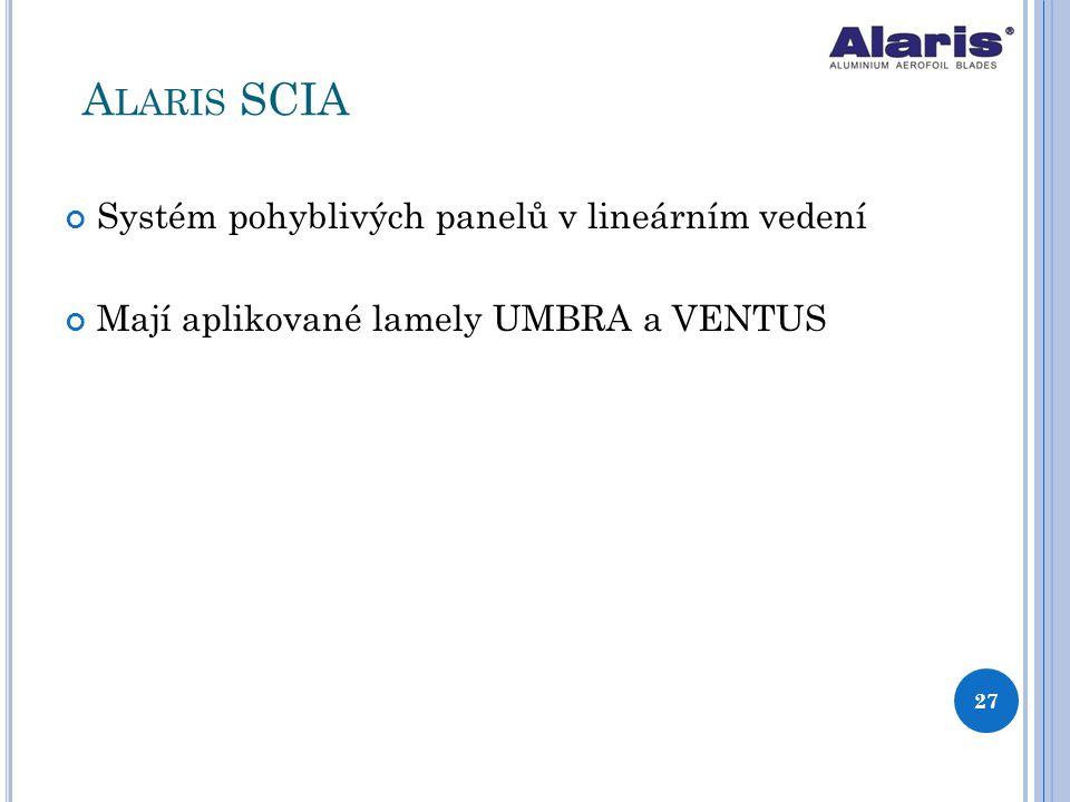 Systém pohyblivých panelů v lineárním vedení Mají aplikované lamely UMBRA a VENTUS 27 A LARIS SCIA