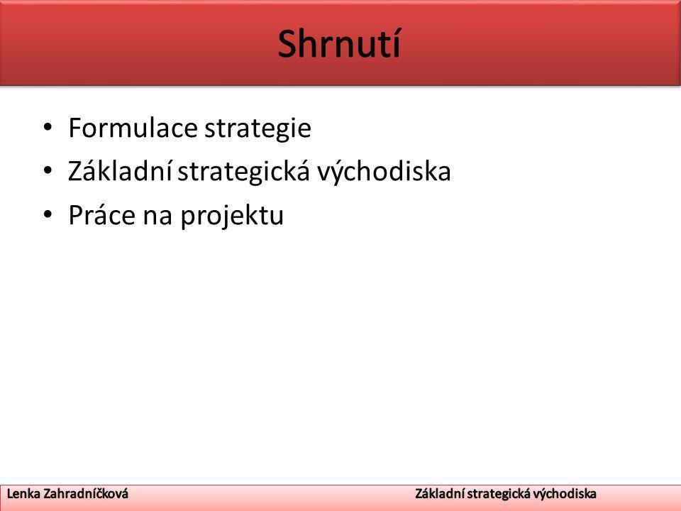 Formulace strategie Základní strategická východiska Práce na projektu