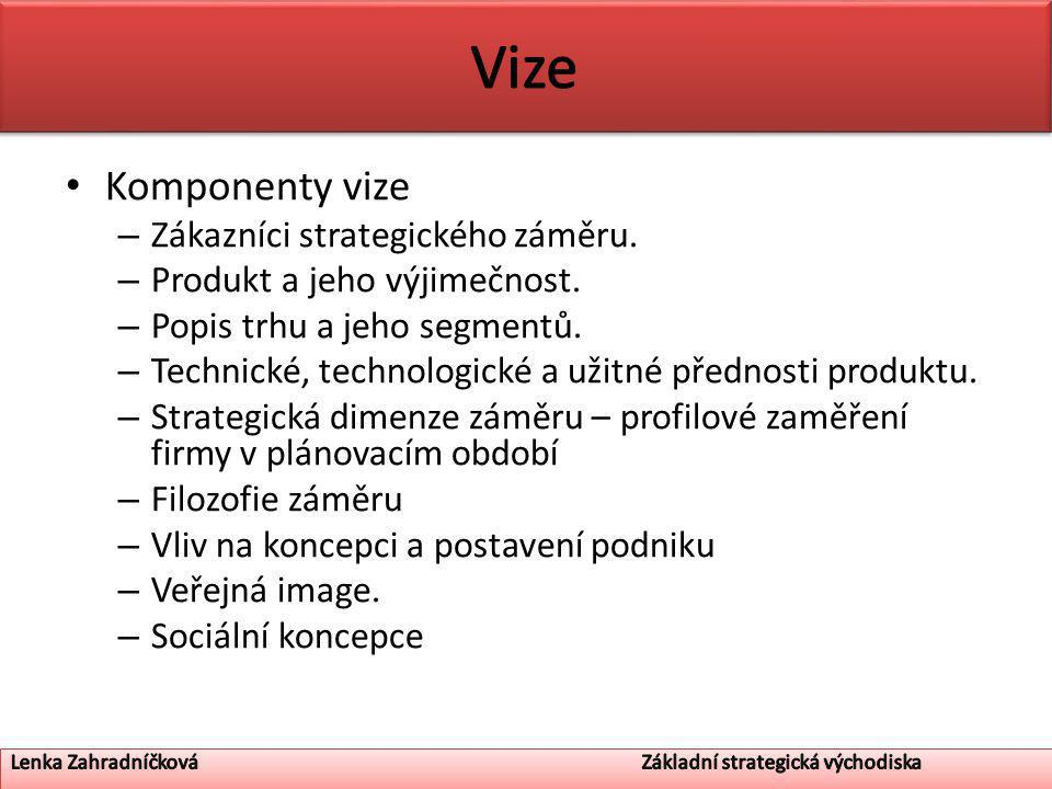 Komponenty vize – Zákazníci strategického záměru. – Produkt a jeho výjimečnost.