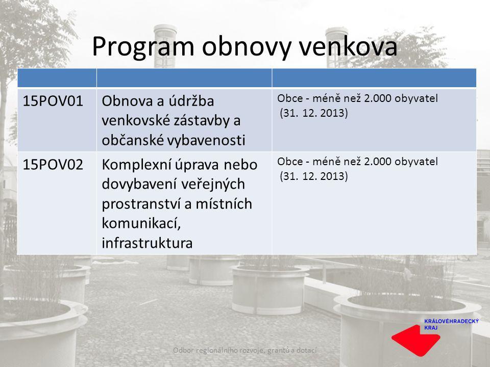 Program obnovy venkova Odbor regionálního rozvoje, grantů a dotací 15POV01Obnova a údržba venkovské zástavby a občanské vybavenosti Obce - méně než 2.000 obyvatel (31.