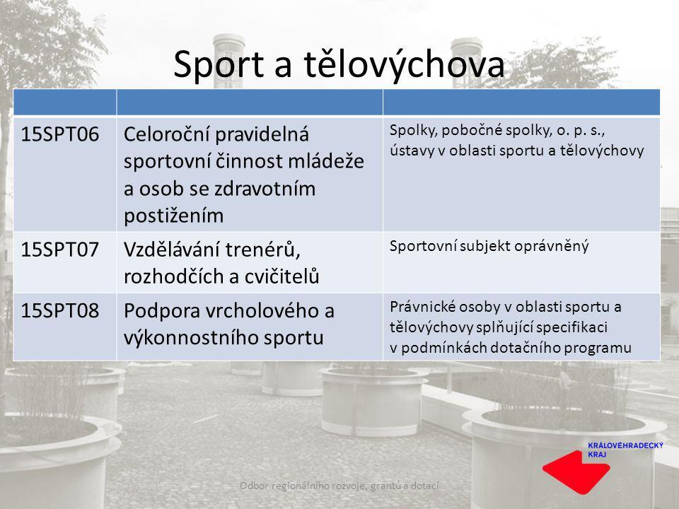 Sport a tělovýchova Odbor regionálního rozvoje, grantů a dotací 15SPT06Celoroční pravidelná sportovní činnost mládeže a osob se zdravotním postižením Spolky, pobočné spolky, o.